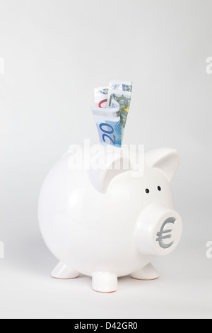 Berlin, Germany, a white piggy bank with euro notes - Stock Photo