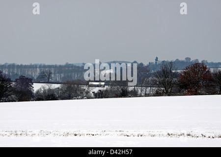 BISHOP'S STORTFORD HERTFORDSHIRE SNOW FIELD. UK. - Stock Photo