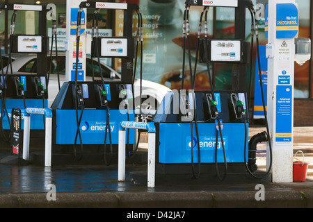 Esso Petrol Station with vacant pumps, Montrose Angus Scotland UK - Stock Photo