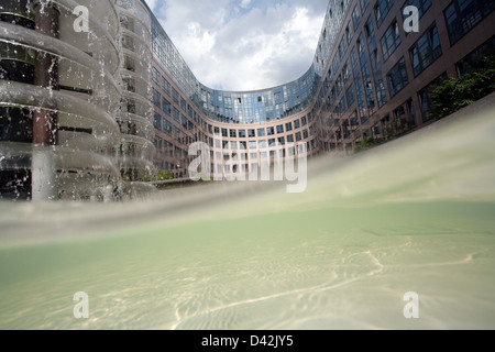 Berlin, Germany, waves of a fountain at the Federal Ministry of the Interior - Stock Photo
