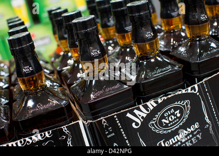 Jack Daniel's whiskey on display at a Costco Wholesale Warehouse Club. - Stock Photo