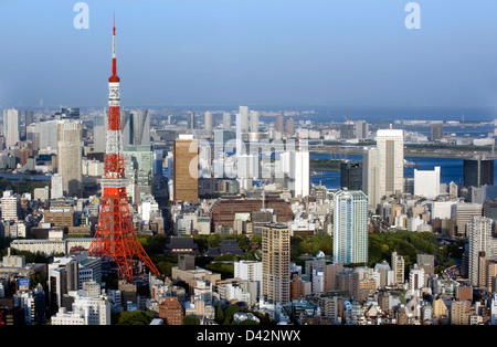 Daytime aerial view of metropolitan downtown Tokyo city skyline with high-rise buildings including Tokyo Tower & - Stock Photo