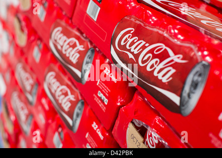 Coca-Cola products on display at a Costco Wholesale Warehouse Club. - Stock Photo