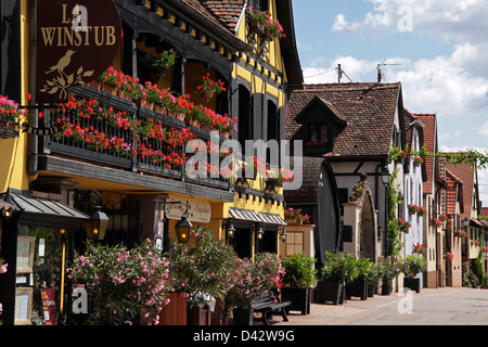 Village with half-timbered houses in Alsace, France - Stock Photo
