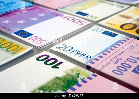 Freiburg, Germany, money stack with euro notes - Stock Photo