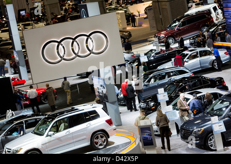 Audi vehicles on display at the 2013 Washington, DC Auto Show. - Stock Photo