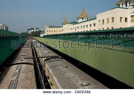 Yangon central train Station Myanmar - Stock Photo