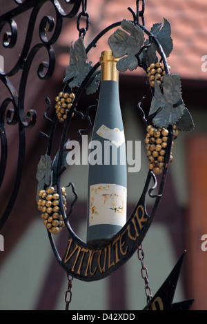 Guild sign in Dambach-la-Ville in Alsace, France - Stock Photo