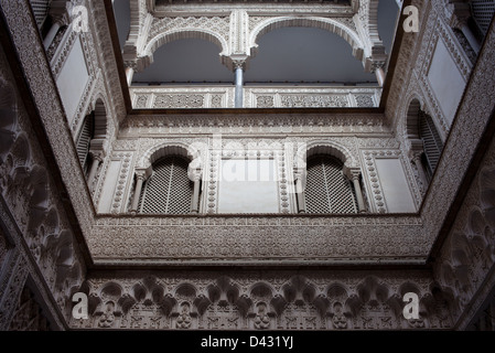 Courtyard of the Dolls in the Royal Palace (Real Alcazar) of Seville, Andalusia, Spain. - Stock Photo