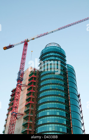 Titania Tower under construction. AZCA, Madrid, Spain. - Stock Photo