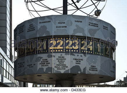 The Weltzeituhr or World Clock in Alexanderplatz, Berlin - Stock Photo