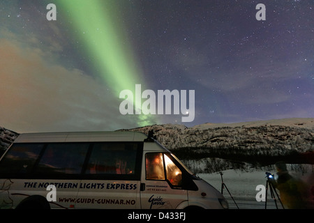 northern lights aurora borealis guided tour vehicle near tromso in northern norway europe - Stock Photo