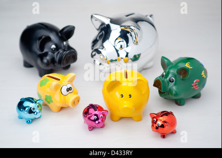 Hamburg, Germany, several piggy banks - Stock Photo