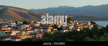 Panoramic of the coastal Greek town of Galaxidi - Stock Photo