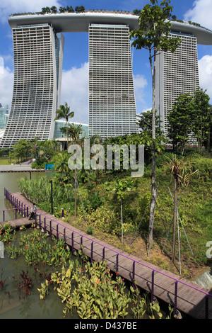 Singapore, Gardens by the Bay, Marina Bay Sands Resort, - Stock Photo