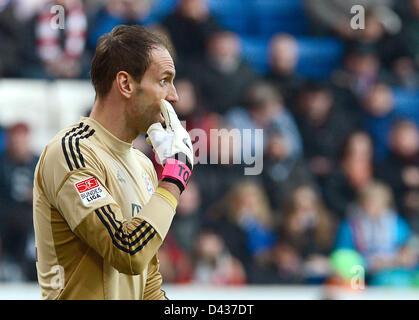 Munich's  goalkeeper Tom Starke reacts during the German Bundesliga soccer match between TSG 1899 Hoffenheim and - Stock Photo