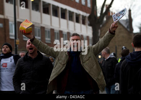 3rd March 2013. White Hart Lane, London UK. Football supporters chanting ahead of the North London Derby between - Stock Photo