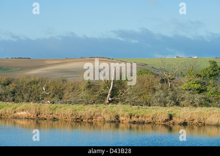 A LANDSCAPE VIEW OF THE CUCKMERE HAVEN RIVER ESTUARY AT THE SEVEN SISTERS COUNTRY PARK. UK - Stock Photo