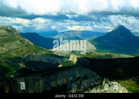 Mountainscape of The Verdon Canyon - Les Gorges du Verdon is the biggest canyon in Europe - Stock Photo