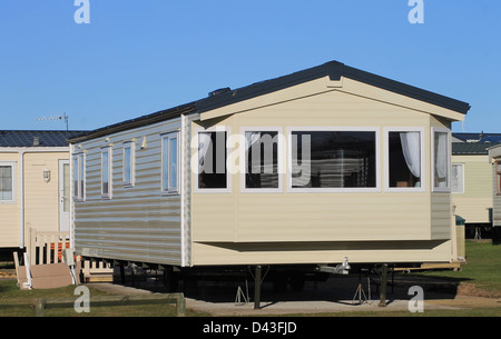 Exterior of modern mobile home on caravan park, Scarborough, England. - Stock Photo
