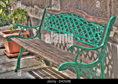 Retro metal and wood bench - Stock Photo
