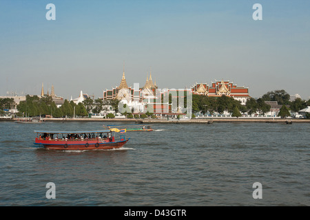 Chaopraya river and grand palace bangkok Thailand a nice city sight seeing trip - Stock Photo