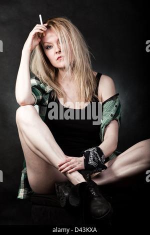 Beautiful blond danish caucasian white trash woman - Stock Photo