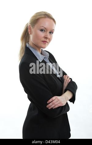 Attractive and beautiful blond danish caucasian woman in her thirties - Stock Photo