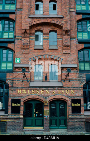 Beautiful warehouse of tea merchants Haelssen & Lyon in the traditional harbor area on December 2, 2012 in Hamburg - Stock Photo