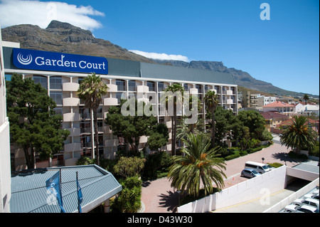 garden court hotel. Garden Court Hotel In Cape Town South Africa Sits Below Table Mountain - Stock Photo