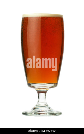 Glass of beer cut out white background - Stock Photo