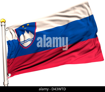 Slovenia flag on a flag pole. Clipping path included. Silk texture visible on the flag at 100%. - Stock Photo