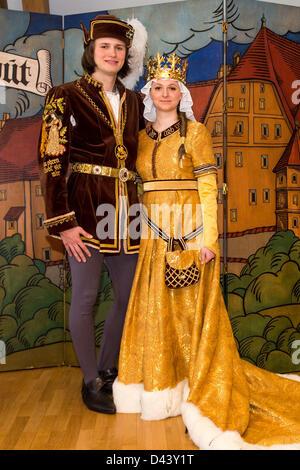 The wedding couple of the Landshut Wedding,  Veronika Haertl as Polish King's daughter Hedwig and Ferdinand Schosser - Stock Photo