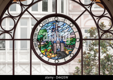 Stained Glass Design Window of Disney Land Paris, France, Europe. View from the front. Close up (macro) - Stock Photo