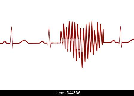 Illustration - A heart-shaped graph is pictured on a electrocardiogram in Berlin, Germany, 12 July 2011. Source: - Stock Photo