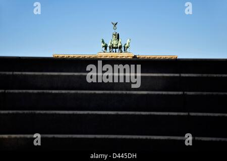 View of the quadriga of Brandenburg Gate from the steps of the U-Bahn station 'Brandenburger Tor' in Berlin, Germany, - Stock Photo