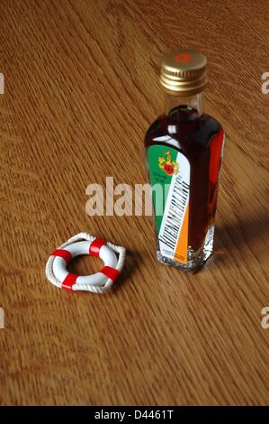 Illustration - A miniature safety buoy is pictured next to a small bottle of Kuemmerling, a herb liqueur, in Berlin, Germany, 22 December 2007. Photo: Berliner Verlag/S.Steinach