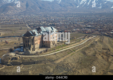 Aerial view of the ruins of the Tajbeg Palace known as the Queens Palace and former residence of the Afghan Royal - Stock Photo