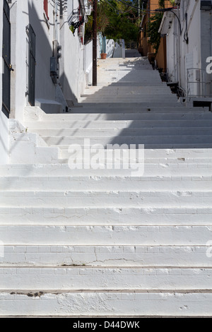 Series of white painted steps in staircase by side of Government house in Charlotte Amalie St Thomas - Stock Photo