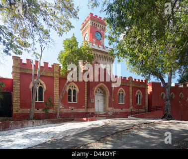 Victorian clock tower on Fort Christian in Charlotte Amalie St Thomas in the US Virgin Islands - Stock Photo