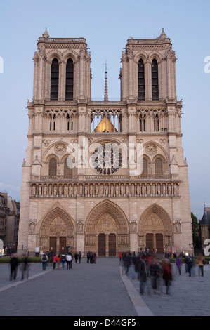 Historic medieval French architecture. The famous West Front of Notre Dame Cathedral. A great Gothic masterpiece - Stock Photo