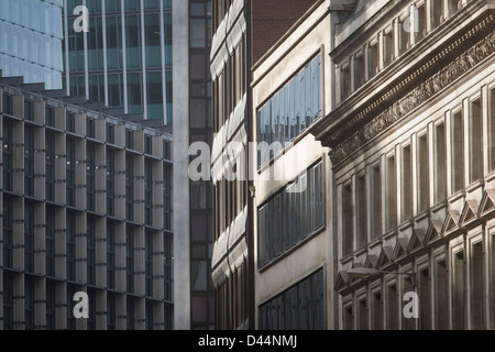 Mixed architecture of generic City of London office buildings in Fenchurch Street in the heart of the capital's - Stock Photo
