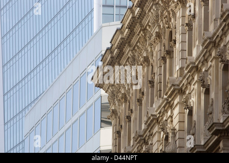 Mixed architecture of generic City of London office buildings in Lombard Street in Lombard Street in the heart of - Stock Photo