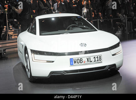 The VW XL1 is presented during a show of the Volkswagen Group on the evening prior to the first press day of the - Stock Photo