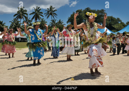 Dancing, part of the Gospel Day entertainment performed by the 6 Ekalesias of the Cook Islands Christian Church - Stock Photo