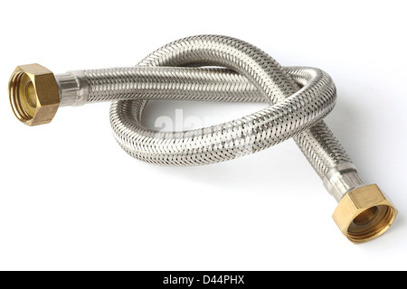 Stainless steel water hose isolated on white - Stock Photo