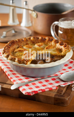 Steak and ale pie - Stock Photo
