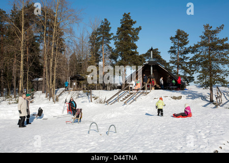 People enjoying sunny weather on the Karhusaari camping site, Lappeenranta Finland Stock Photo