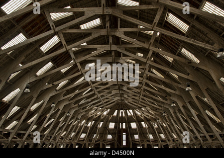 View of timbered roof at No.3 Slip cover at Chatham Dockyard. - Stock Photo