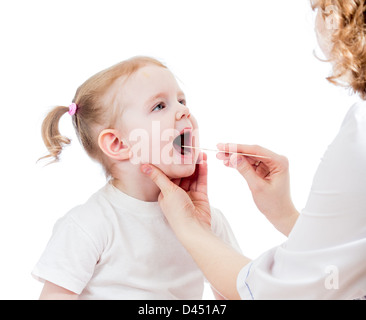 doctor examining baby isolated on white background - Stock Photo